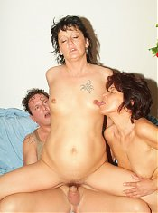Mature women Marsha and Agnes enjoy a threesome session and take turns in getting their ripe cooters screwed
