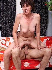 Naughty granny Stephanie gives a younger guy a head before she surrenders her aged pussy